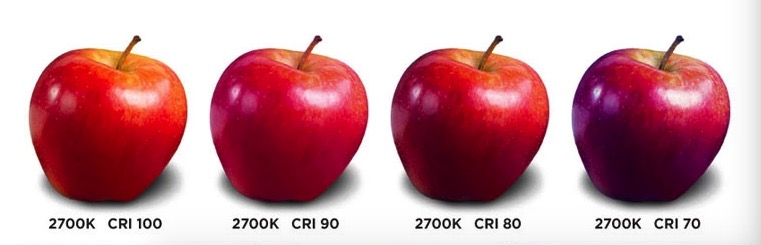 apples lit with different CRI