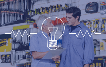 Experienced electrical counter salesperson and customer